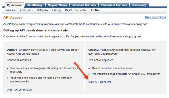 PayPal API Access Page Screenshot
