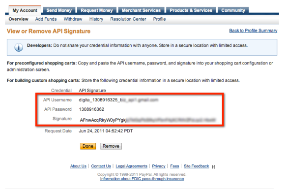 PayPal API Credentials Page Screenshot.