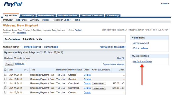 PayPal Business Account Overview Screenshot