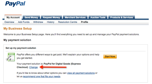 PayPal Business Account Setup Screenshot