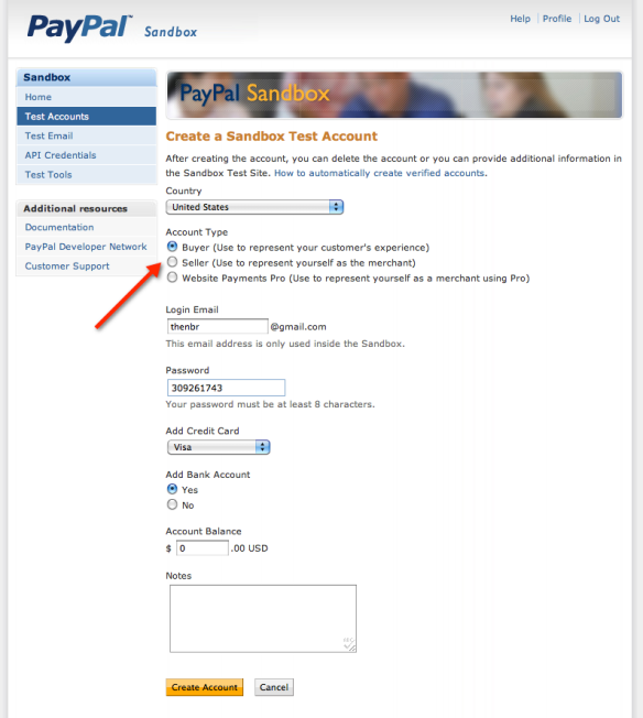 PayPal Sandbox Preconfigured Account Form Screenshot