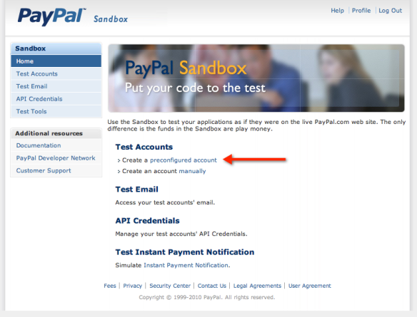 PayPal Sandbox Overview Screenshot